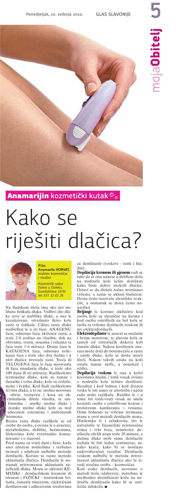"""Glas Slavonije 10.05.2010.g.  """"POJAČANA DLAKAVOST ILI HIRZUTIZAM"""""""