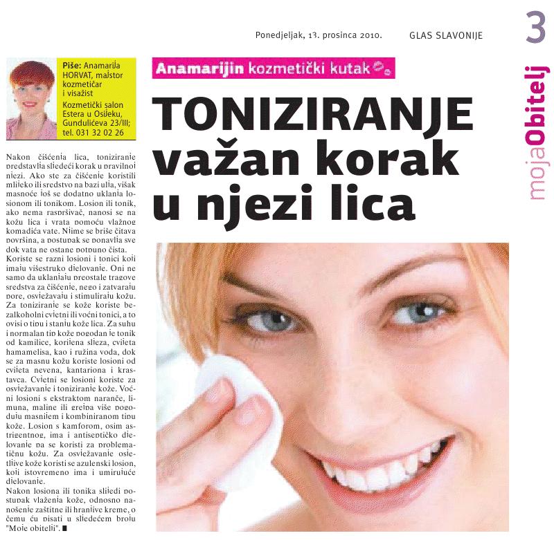 """Glas Slavonije 13.12.2010.g. """"TONIZIRANJE LICA"""""""