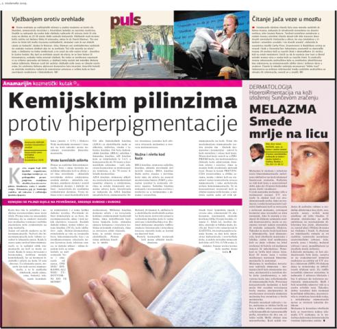 """Glas Slavonije 2.11.2009.g. """"KEMIJSKIM PILINZIMA PROTIV MRLJA"""""""