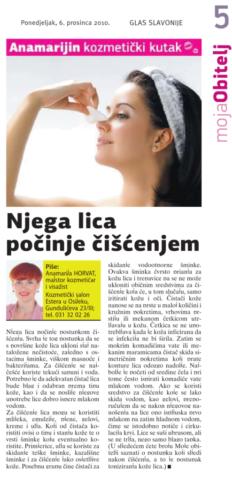 """Glas Slavonije 6.12.2010.g. """"ČIŠĆENJE KOŽE"""""""